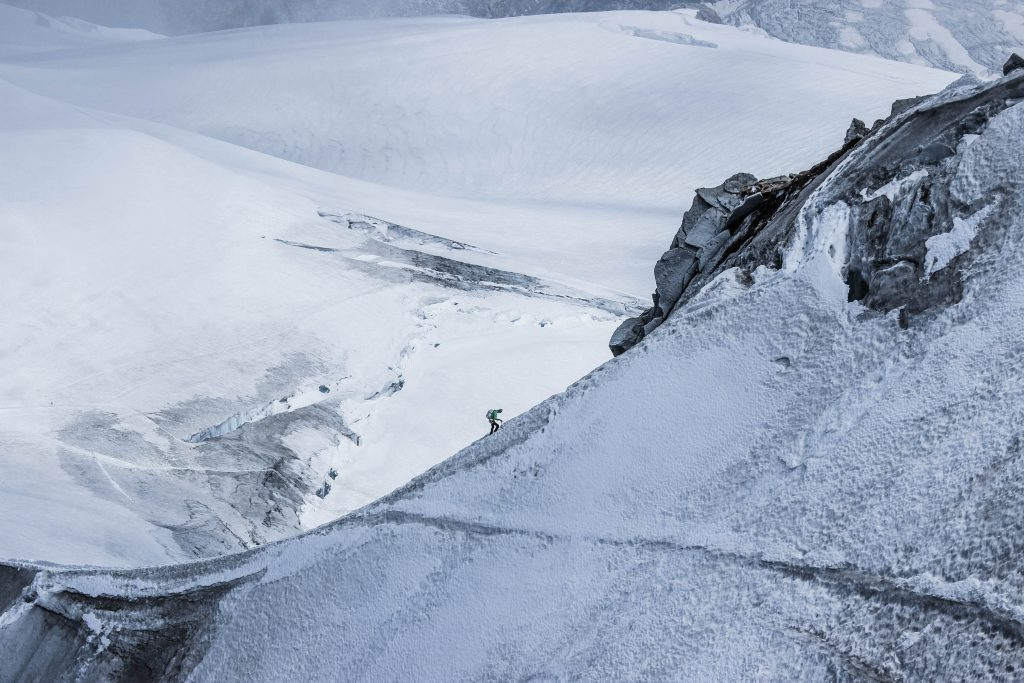 Lone climber on mountain